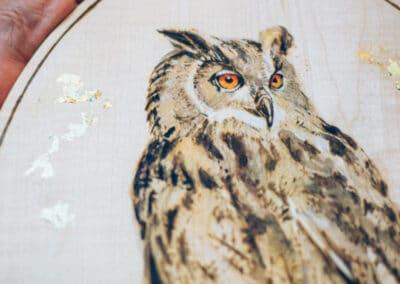 Brandmalerei nach Wunschmotiv ZellamSee Lieferung Post Bestellung online indivudelles Kunsthandwerk Geschenk Atelier Halili Eulen Motiv auf Holz