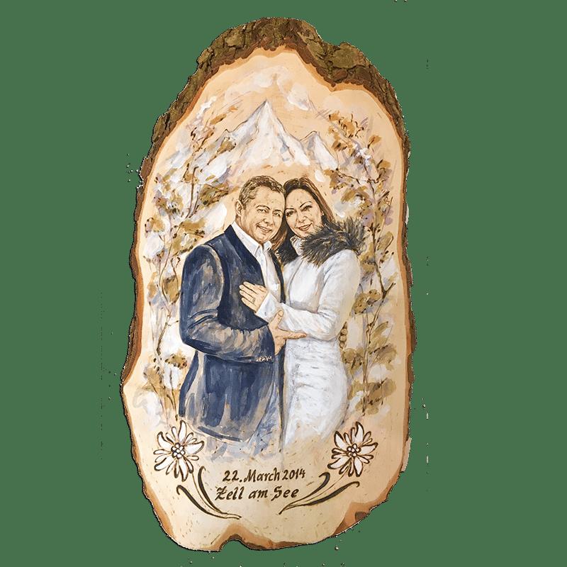 Emotionales Geschenk zur Diamant Hochzeit - Hochzeitsjubiläum Geschenksidee - Kunsthandwerk Portrait auf Holz - Brandmalerei - Versand in ganz Österreich - Atelier Halili - Brandmalerei Geschenke - Zell am See