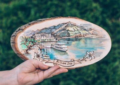 Kunsthandwerk - Wunschmotive auf Holz - Brandmalerei - Versand in ganz Österreich - Atelier Halili - Brandmalerei Geschenke - Zell am See