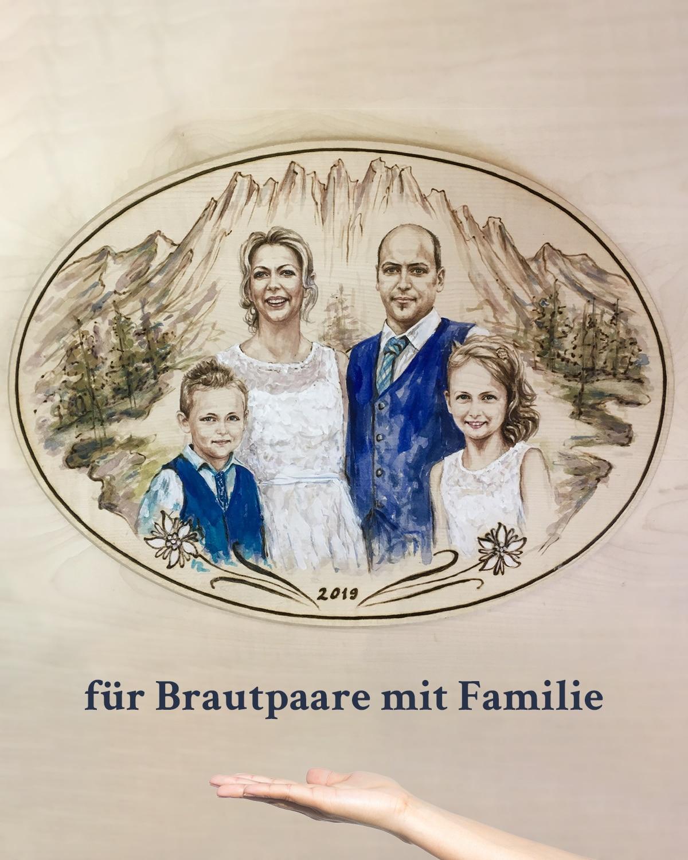 Hochzeitsgeschenk auf Holz für Brautpaare mit Kinder Familie